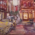 Blue dog and twilight Prince Street. Oil on canvas. 2013 New York. 36x27in. Картина доступна в Ward-Nasse Gallery (New York city, USA)