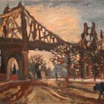 09 Blue dog and Queens Bridge at sunset..Oil on canvas. 2013 New York. 40x27in. Картина доступна в Ward-Nasse Gallery (New York city, USA).