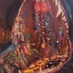 07 Fifth Avenue in the mouth at the Blue Dog. Oil on canvas. 2013 New York. 36x27in. Картина доступна в Москве.