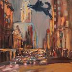 06 Blue dog and east 42 street. Oil on canvas. 2013 New York. 36x27in. Картина доступна в Москве.